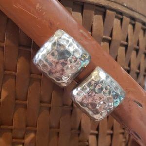 Vtg sterling silver 925 pebbled clip-on earrings